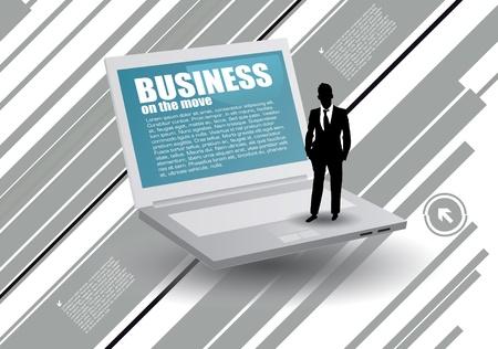 businessman on laptop Vector