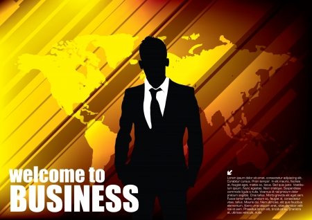 businessman on golden world background  Vector