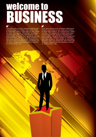 businessman on golden world background  Vector
