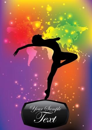 flexible girl: magic ballet background Illustration