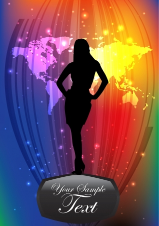 woman shape on sparkling background  Vector