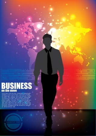 businessman and world map  Vector