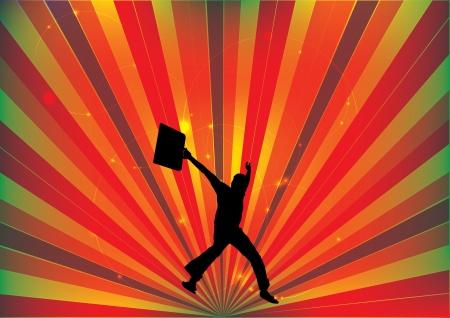 man abstract: jumping man abstract background