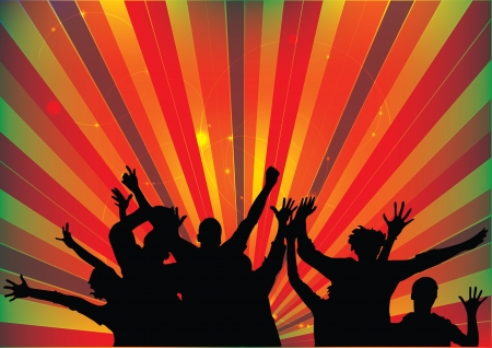 happiness people silhouette on the sunset: party people background