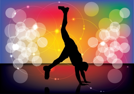 acrobatic person on abstract background  Stock Vector - 14154466