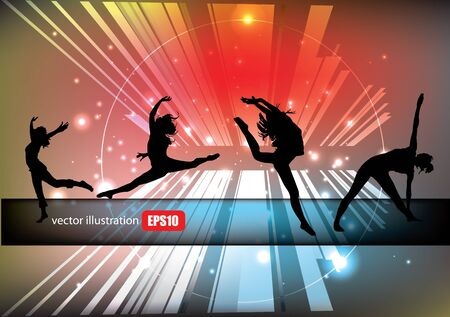 jumping women tech background  Vector