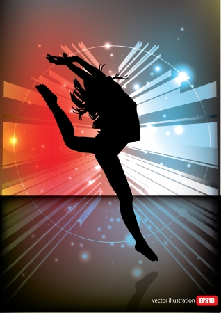 dancing woman tech background  Stock Vector - 14477308