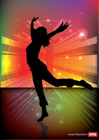 dancing woman tech background  Vector