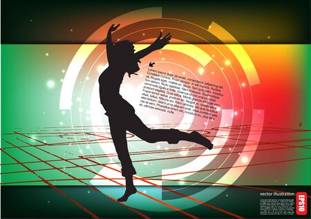 dancing woman tech background Stock Vector - 14548551