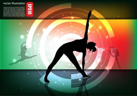 stride: dancing woman tech background