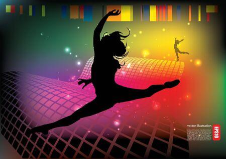 dancing woman tech background Stock Vector - 14560103