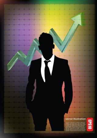 stockbroker: businessman and business chart  Illustration
