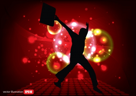 jumping man on abstract background Stock Vector - 14560121