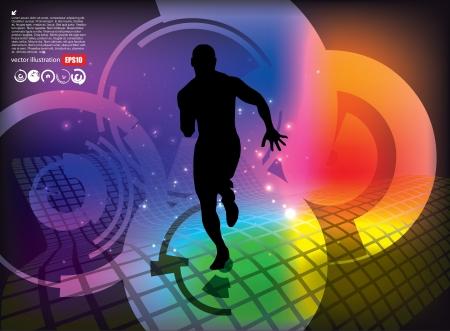 muscular control: running man tech background