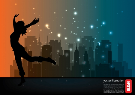 woman shape on city background  Vector