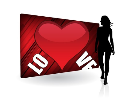 woman and love billboard  Vector