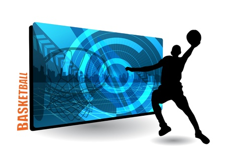 basketball frame with basketball player  Vector