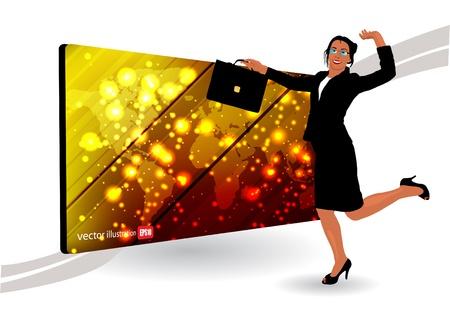businesswoman and golden frame  Vector
