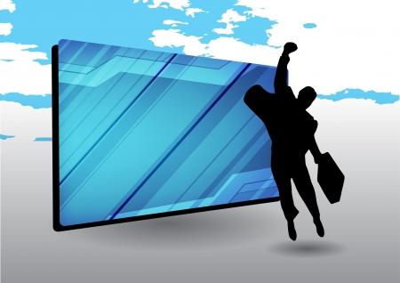 businessman and futuristic frame  Vector