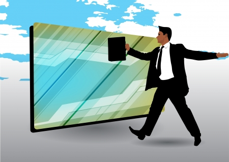 businessman and futuristic frame Stock Vector - 14612999
