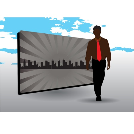 businessman and city frame  Vector