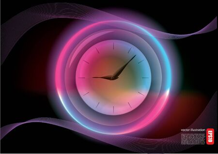 glowing clock background  Vector