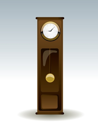 isolated old-fashion wooden clock  Vector