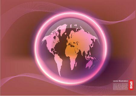 world glowing Vector