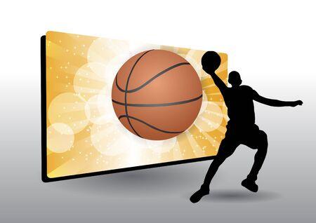 basketball frame with basketball player Stock Vector - 14612994