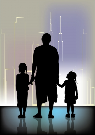 family and city shape  Vector
