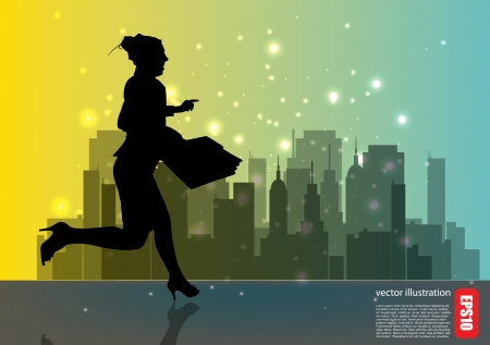 businesswoman and the city  Stock Vector - 14612992