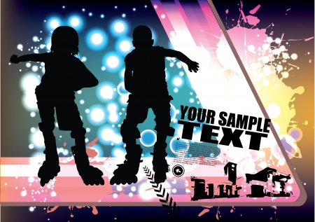 two roll skate boys  Stock Vector - 14823433