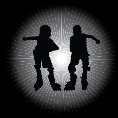 inline skate: two roll skate boys  Illustration