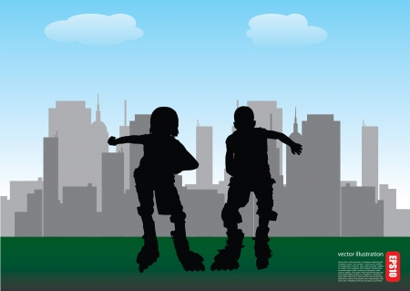 two roll skate boys on city background  Vector