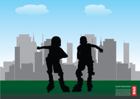 inline skater: two roll skate boys on city background  Illustration