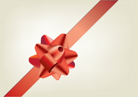 curling: red gift bow with ribbon  Illustration
