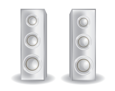 party system: chrome stereo speakers