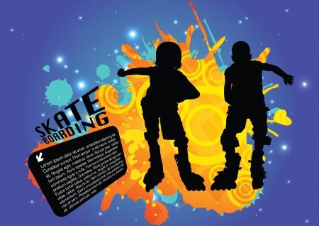 inline skating: two roll skate boys  Illustration
