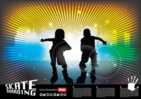 inline: two roll skate boys  Illustration