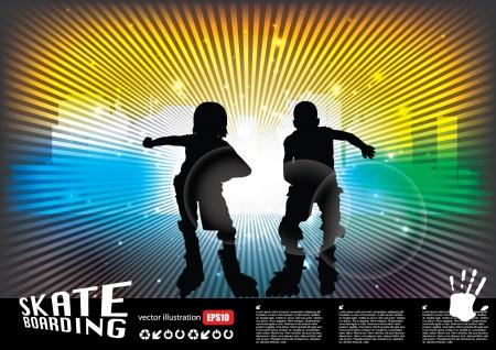 inline skater: two roll skate boys  Illustration