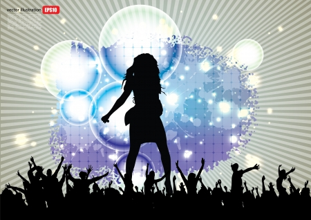 singing silhouette: pop star background