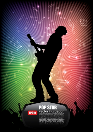 rock star on abstract background  Vector