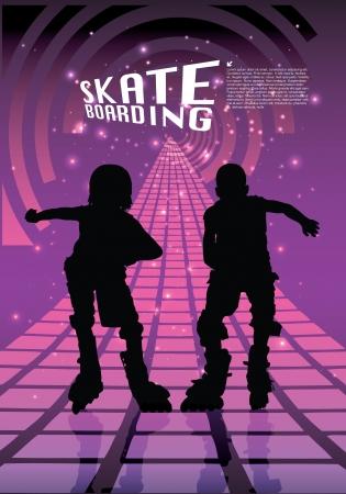 niño en patines: dos jinetes de rodillos en el fondo abstracto