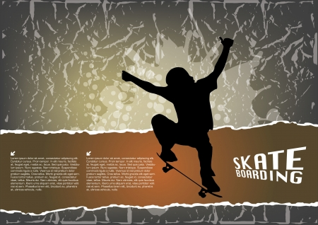 ni�o en patines: skate grunge fondo Vectores