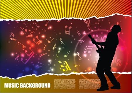 guitar player on grunge background  Illustration