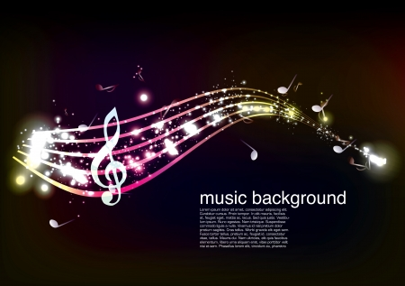 glowing music notes  Illustration