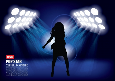 pop singer: woman shape in spot lights