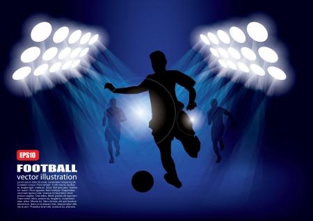 jugador de futbol soccer: Jugador de f�tbol en focos
