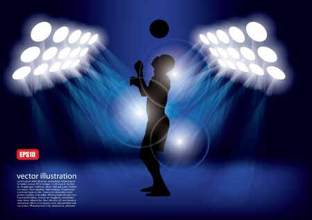 soccer player in spot lights  Vector
