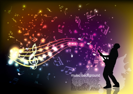 guitarist on music background  Vector